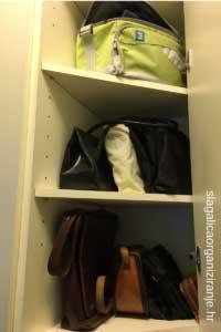 kako organizirati ormar za torbe